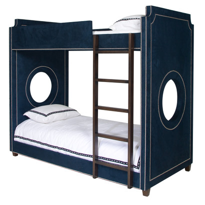 Bed Size: Twin Over Twin Fabric: AFK Arizona Navy Nail Heads: Polished Nickel Ladder and Feet Finish: Walnut