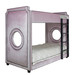 Bed Size: Twin Over Twin Fabric: AFK Majestic Lilac Mist Contras t Welt Fabric: AFK Derek Ladder and Feet Finish: Black