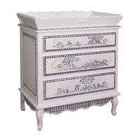 French Chest and Tray Finish: Antico White Hand Painted Motif: Toile in Black Knobs: Glass Knobs with Gold Base Comes with French Chest, Changer Tray, Pad and Terry Cover
