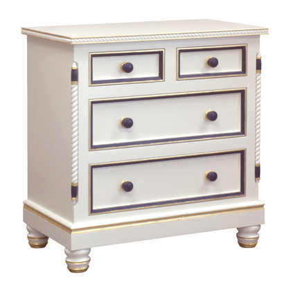Evan Chest Finish: Antico White Trim Out: Navy and Gold Gilding Knobs: Wood Knobs