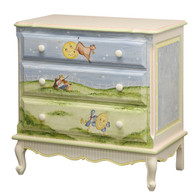 French Chest Finish:Linen Hand Painted Motif:Nursery Rhymes Knobs:Wood