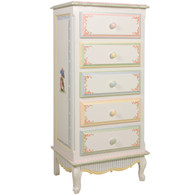 French Lingerie Chest Finish: Antico White Hand Painted Motif: Enchanted Forest Knobs: Wood