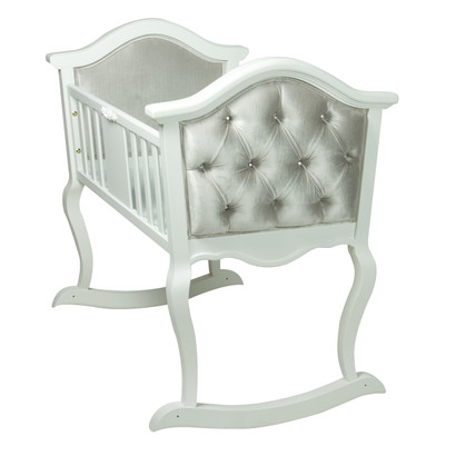 Upholstered French Cradle: Antico White / Majestic Silver