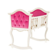 Upholstered French Cradle: Versailles Creme / Rosetta