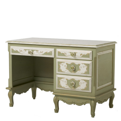 French Student Desk Motif: Verona Finish: Green / Linen / Gold