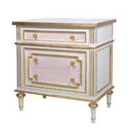 Marcheline Night Table: Antico White / Pink / Gold Gilding