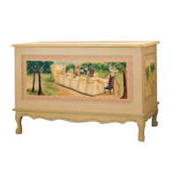 French Toy Chest Finish: Renaissance Hand Painted Motif: Alice in Wonderland