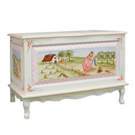 French Toy Chest Finish: Antico White Hand Painted Motif: Enchanted Forest