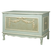 French Toy Chest Finish: Provence Blue Appliqued Moulding Option: AFK Standard Moulding With Optional Caning behind Appliqued Moulding