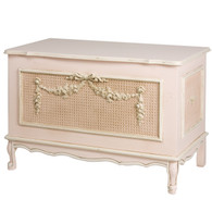 French Toy Chest Finish: Provence Pink Appliqued Moulding Option: AFK Standard Moulding in Gold Gilding With Optional Caning behind Appliqued Moulding in Silver Giding