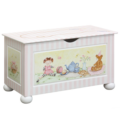 Toy Chest Finish: Antico White Hand Painted Motif: Tea Party
