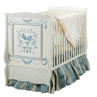 Cottage Crib Hand Painted Motif: Bluebird Finish: Antico White