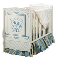 Cottage Crib Hand Painted Motif: Bluebird Finish: Antico White