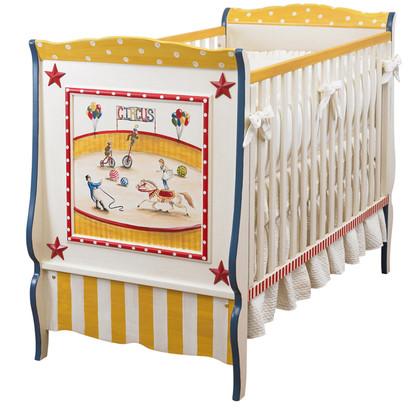 Cottage Crib Hand Painted Motif: Circus Finish: Antico White