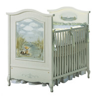 French Panel Crib Hand Painted Motif: Gone Fishin' Finish: Antico White