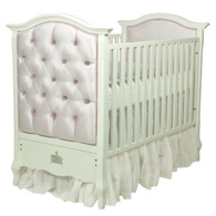 Bordeaux Crib Finish: Snow Fabric: AFK Majestic Lilac Mist Tufting Option: Crystal Tufting Appliquéd Moulding Option: Crown Moulding in Silver Gilding