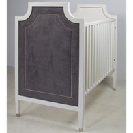 Gramercy Crib Finish: Antico White Fabric: AFK Arizona Charcoal Nail Heads: Polished Nickel Toe Caps: Polished Nickel