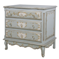 French Chest Finish: French Blue / Linen / Gold Hand Painted Motif: Verona Knobs: Glass Knobs with Gold Base