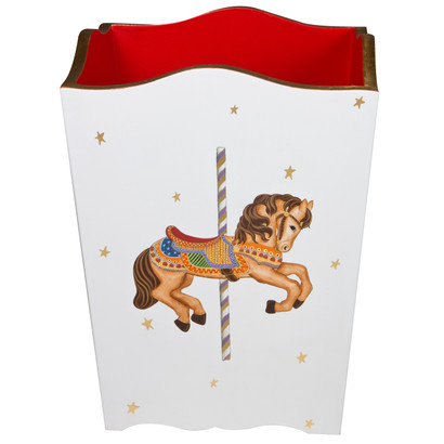 Waste Basket Hand Painted Motif: Carousel Base Finish: Antico White Detail Finish: Red / Gold