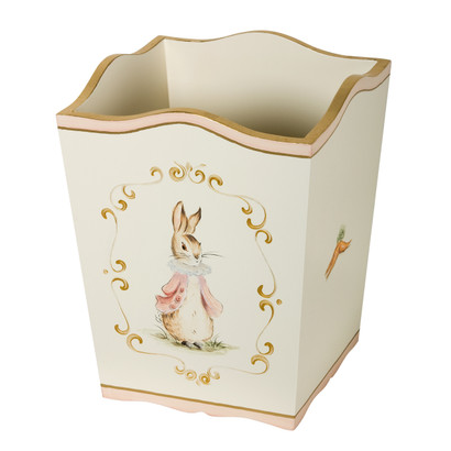 Waste Basket Hand Painted Motif: Custom Classic Enchanted Forest Base Finish: Linen Detail Finish: Pink / Gold Gilding