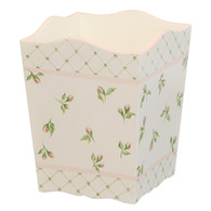 Waste Basket Hand Painted Motif: Floral Buds Finish: Linen