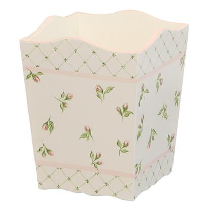Waste Basket Hand Painted Motif: Floral Buds Finish: Linen