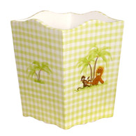 Waste Basket Hand Painted Motif: Safari Base Finish: Snow Detail Finish: Green