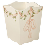 Waste Basket Hand Painted Motif: Ribbons and Roses Base Finish: Linen