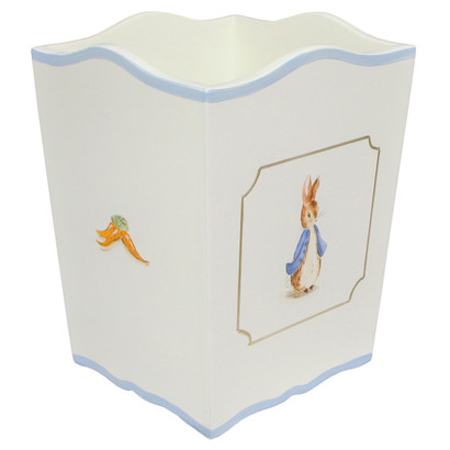 Waste Basket Hand Painted Motif: Classic Enchanted Forest Base Finish: Antico White Detail Finish: Blue