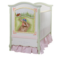 French Panel Crib Hand Painted Motif: Enchanted Forest  Finish: Linen