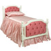 Bed Size: Twin Option: Button Upholstery on Head and Footboard Finish: Antico White Fabric: C.O.M - Customer's Own Material