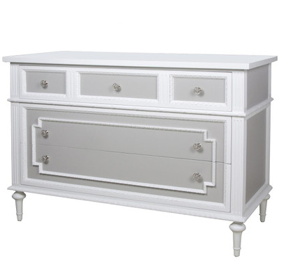 Marcheline Chest Finish: Snow Inset Panels: Dior Gray Knobs: Polish Nickel Knob # 2
