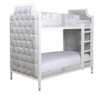 GRAMERCY BUNK BED Bed Size: Twin Over Twin Finish: Snow Fabric: AFK Opulence Silver Tufting Option: Button Tufted Toe Caps: Polished Nickel