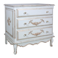 French Chest Finish: Versailles Blue Appliqued Moulding Option: AFK Standard Moulding in Versailles Blue Knobs: Glass Knobs with Gold Base