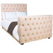 Bed Size: Full Fabric: Houndstooth Shrimp Feet Finish: Walnut Option: Button Tufted