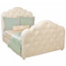 Bed Size: Full Fabric: C.O.M. - Customer's Own Material Option: Button Tufting Upholstery Feet Finish: White