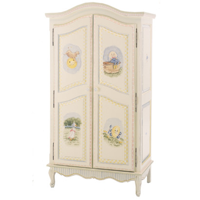 French Armoire Finish: Linen Hand Painted Motif: Nursery Rhymes Knobs: Wood