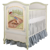 French Panel Crib Hand Painted Motif: Custom Enchanted Forest for a Boy Finish: Antico White