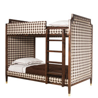 Bed Size: Twin Over Twin Finish: Walnut Wood Stain Fabric: C.O.M. - Customer's Own Material Option: Tight Back Upholstery Nail Heads: Polished Brass Toe Caps: Polished Brass
