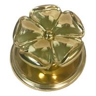 Large Brass 5-Petal Floral Knob