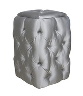 Tufted Hamper Fabric: AFK Whisper Silver Tufting Option: Button Tufted Hardware: Glass Knob with Silver Base