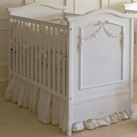 Floral Swag French Panel Crib Finish: Antico White Appliqued Moulding Finish: Antico White