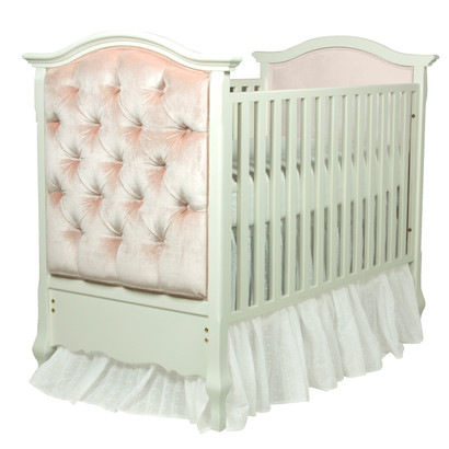 Bordeaux Crib Finish: Antico White Fabric: AFK Empress Pink Tufting Option: Button Tufting