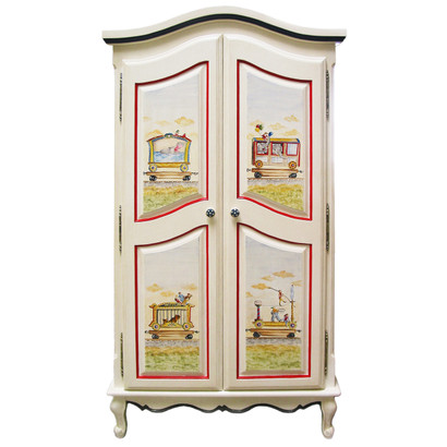 French Armoire Finish: Antico White Hand Painted Motif: Circus Knobs: Wood