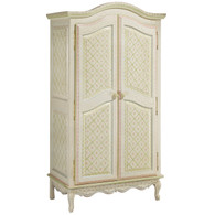 French Armoire Finish: Antico White on Gray Crackle Hand Painted Motif: Serendipity Knobs: Wood