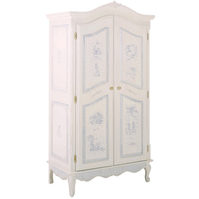 French Armoire Finish: Antico White Trim Out: Blue Gingham Hand Painted Motif: Toile Knobs: Glass Knobs with Gold Base