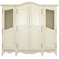 Breakfront Finish: Linen Trim Out: Pink Door Option: Brass Wire Mesh Standard Knobs: Glass Knobs with Gold Base