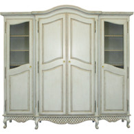 Breakfront Finish: Versailles Blue Door Option: Brass Wire Mesh Standard Knobs: Glass Knobs with Gold Base