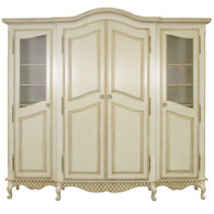 Breakfront Finish: Versailles Creme Door Option: Brass Wire Mesh Standard Knobs: Glass Knobs with Gold Base with Florets in Versailles Creme