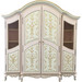 Grand Three Piece Breakfront Finish: Pink / Linen / Gold Hand Painted Motif: Verona Door Option: Glass Knobs with Gold Base